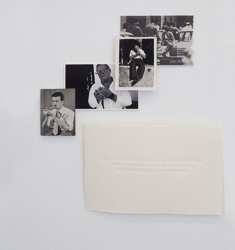 """""""Encendiendo cigarrillos"""", fotografía, 29x23 cm, y S/T, papel marfil hecho a mano 100% algodón. Golpe en seco,  15x25 cm. Valle Galera,  2016"""