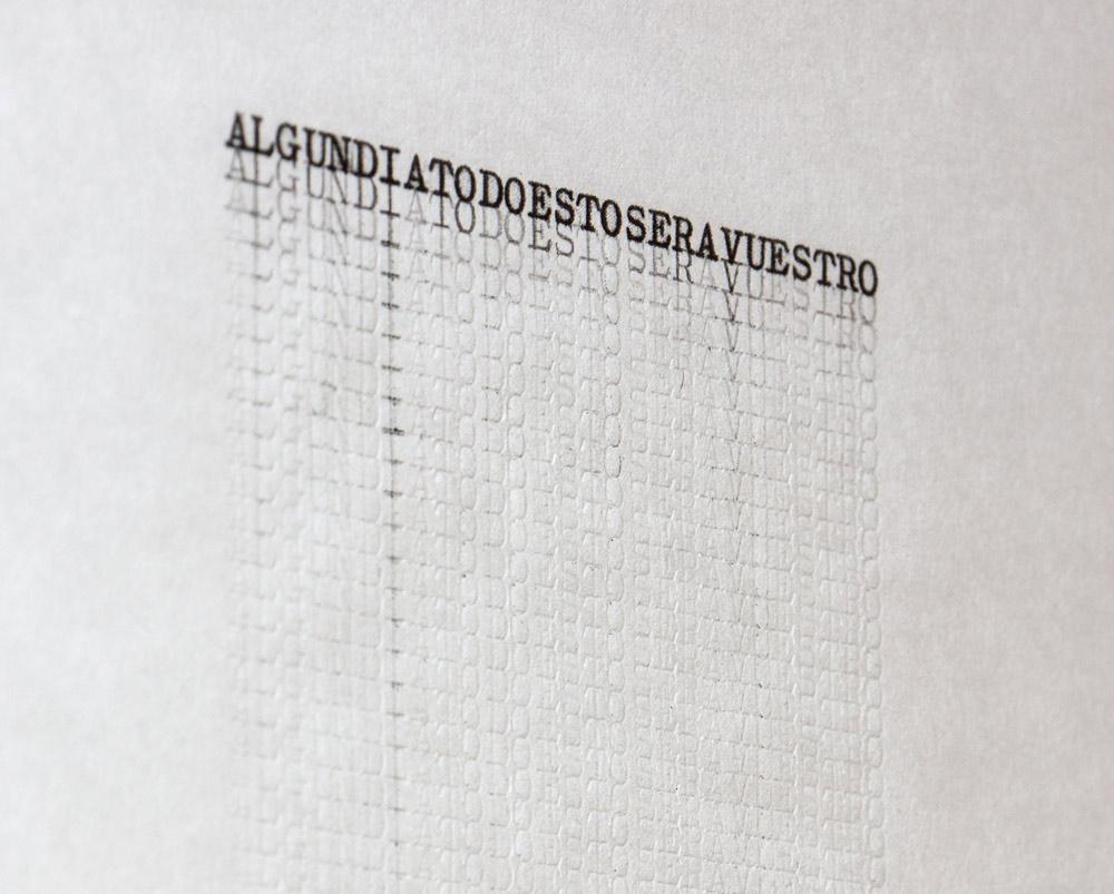 """Sin título"", papel japonés mecanografiado, 90x25 cm. Tito Pérez Mora, 2013"