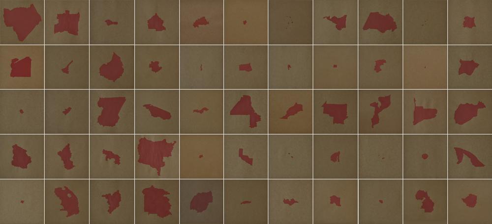 """África de sangre"", acrílico sobre papel, 55 dibujos de 20x20 cm. Rosalía Banet, 2014"