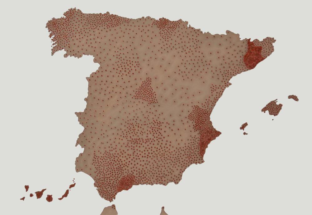 """""""Cartografías del dolor de España: Suicidios"""", acrílico y lápiz sobre papel, 70×100 cm. Rosalía Banet, 2012"""