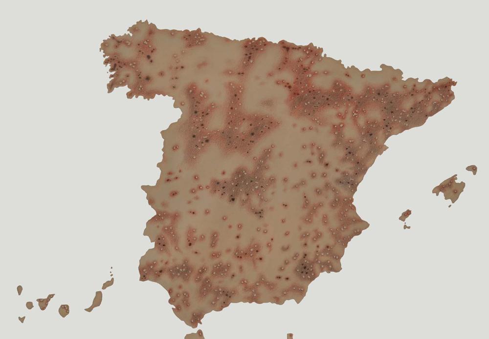 """""""Cartografías del dolor de España: Contaminación"""", acrílico y lápiz sobre papel, 70×100 cm. Rosalía Banet, 2012"""