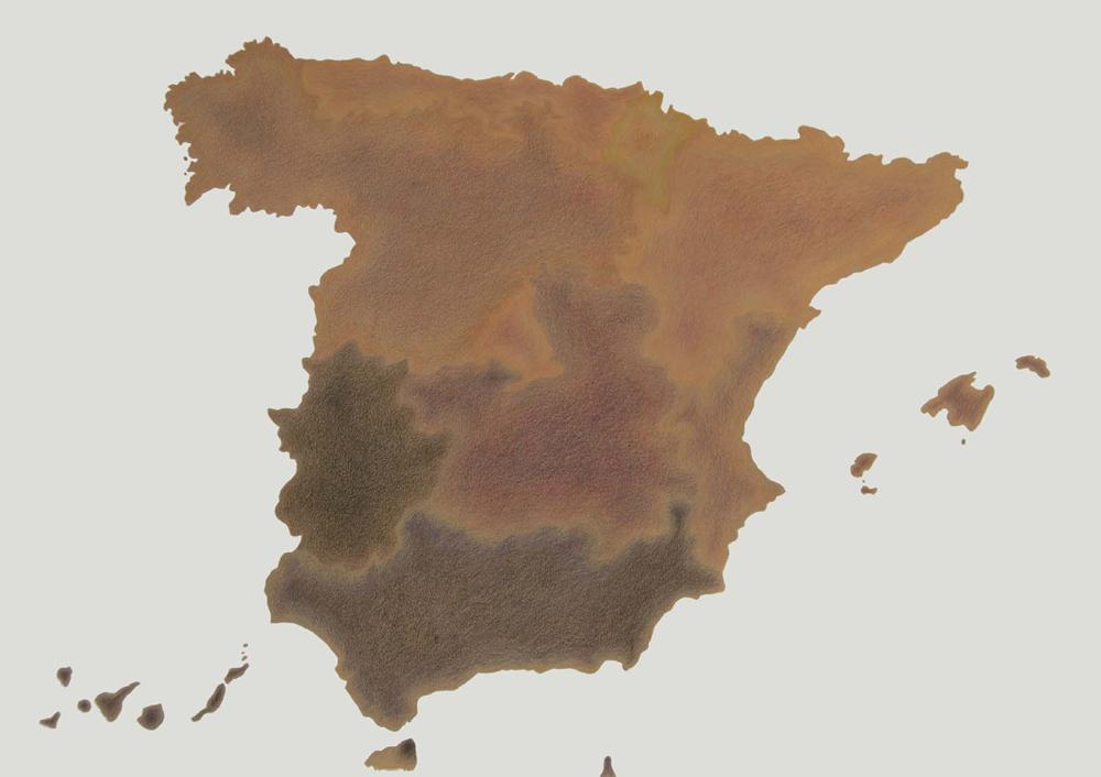 """""""Cartografías del dolor de España: Pobreza"""", acrílico y lápiz sobre papel, 70×100 cm. Rosalía Banet, 2012"""