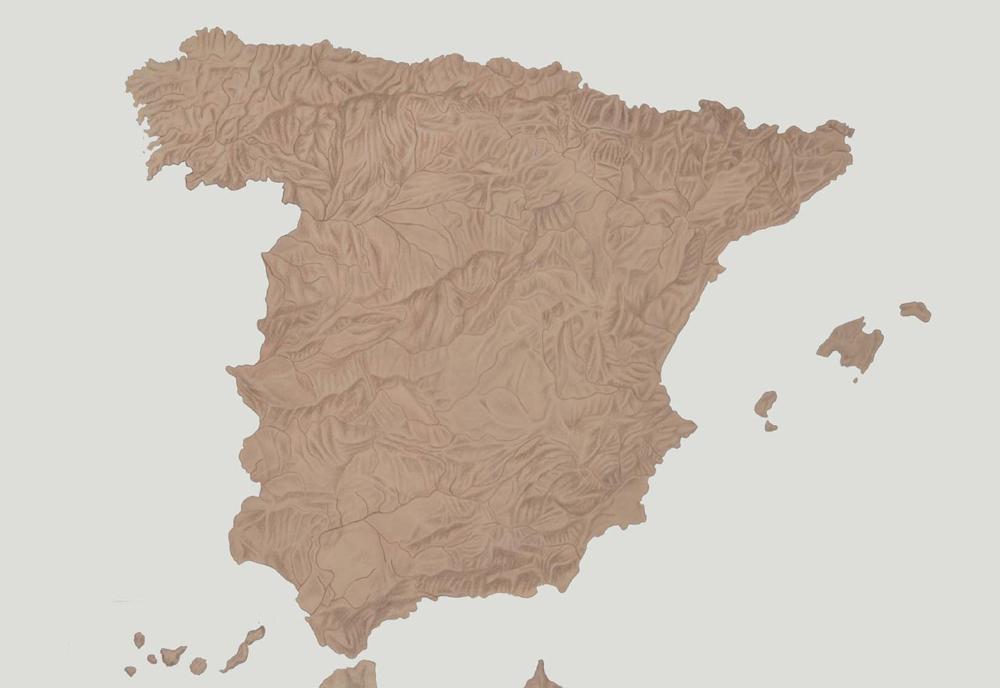 """""""Cartografías del dolor de España: Piel"""", acrílico y lápiz sobre papel, 70×100 cm. Rosalía Banet, 2012"""