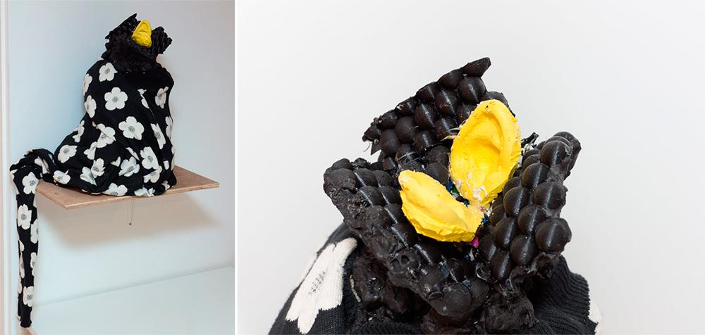 """""""Sprang ears"""", jesmonite, impresión 3d, silicona, espuma de poliuretano, pintura acrílica y jersey, 35 x 40 x 70 cm. Javier Chozas, 2017"""