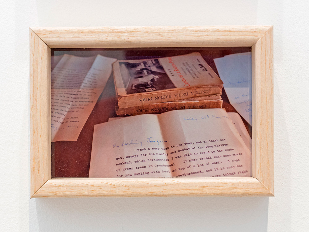 """Detalle de """"The story of Alice and Joaquin"""", instalación: collage enmarcado, 22 x 17 cm, imagen enmarcada, 12 x 17 cm y caja de metacrilato, 8 x 16 x 8 cm. Marla Jacarilla, 2017"""