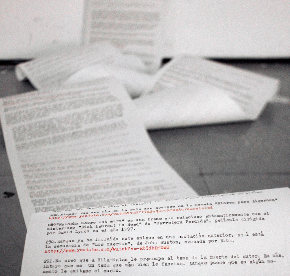 """Detalle de """"Notas a pie de Dublinesca"""", instalación. Marla Jacarilla, 2012"""