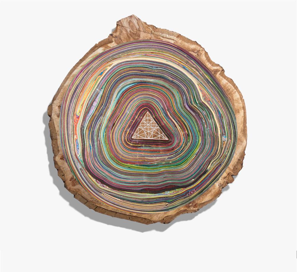 """""""Dendrogeometrias (triangulo)"""", técnica mixta: cartulina, madera, hierro, 70 cm de diámetro y 12 de profundidad. Salim Malla, 2015"""