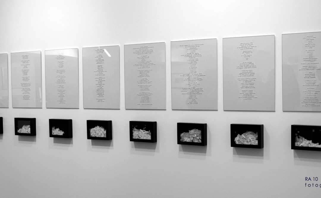 """""""Epístolas en verso libre"""", collage enmarcado de 30x40 cm más pieza de 12,5x17,5 cm (cada una). Marla Jacarilla, 2014"""