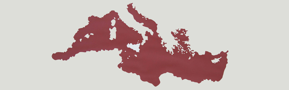 """""""Fronteras de Sangre: Europa/África"""", acrílico sobre papel, 37x110 cm. Rosalía Banet, 2013"""