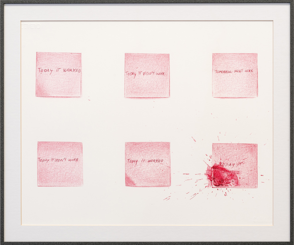 """In vitro #6"", dibujo a boligráfo bic rojo sobre papel caballo 109, 30x42 cm. Manuel Franquelo Giner, 2016"
