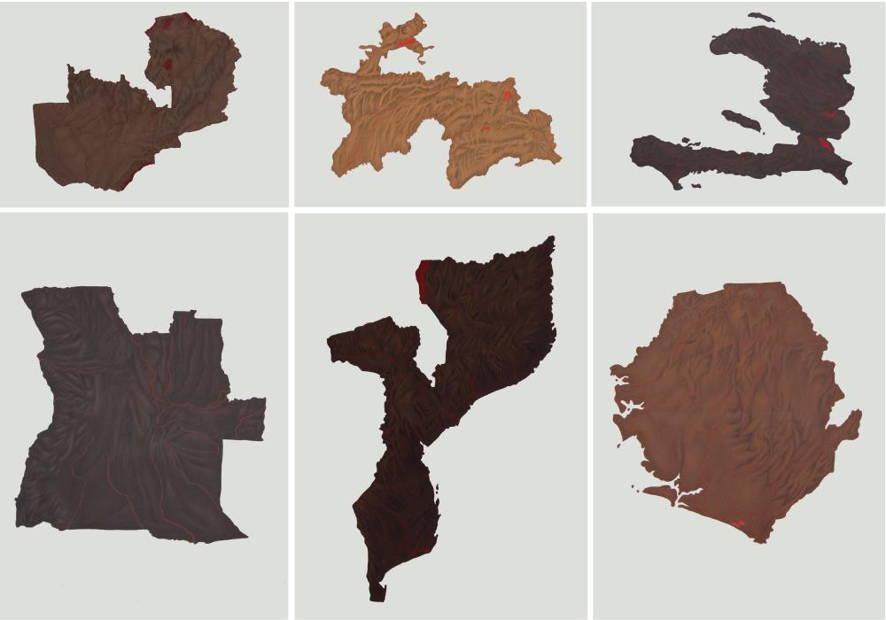 """Serie """"Mapas de Piel"""", acrílico y lápiz sobre papel, 50×70 cm. Rosalía Banet, 2013"""