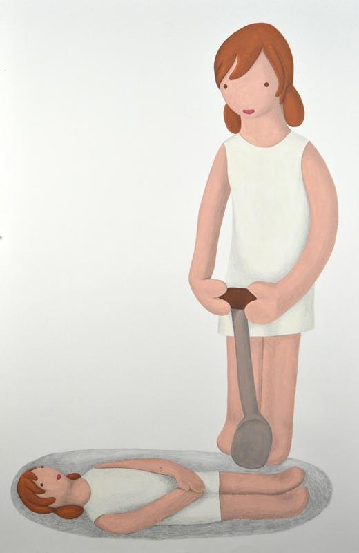 """Niña-agujero"", acrílico y lápiz sobre papel, 150x100 cm. Rosalía Banet,  2012"