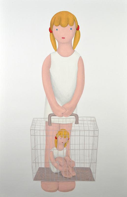 """Niña-jaula"", acrílico y lápiz sobre papel, 150x100 cm. Rosalía Banet,  2012"