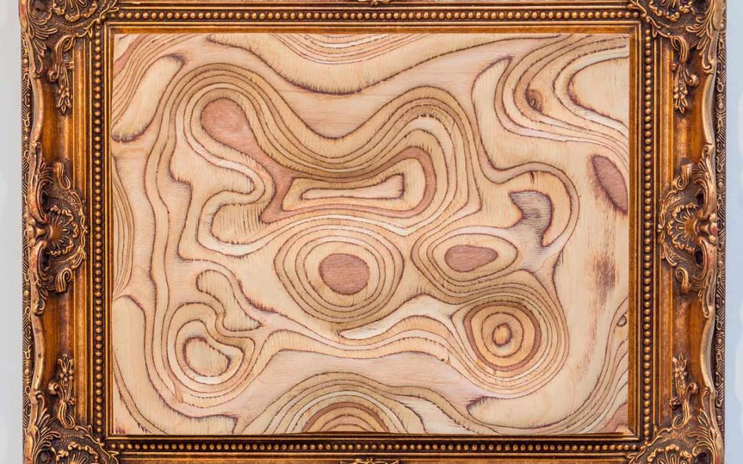 """""""La isla de la Tortuga"""", madera laminada y marco, 50x61x7 cm. Carlos Nicanor, 2016"""