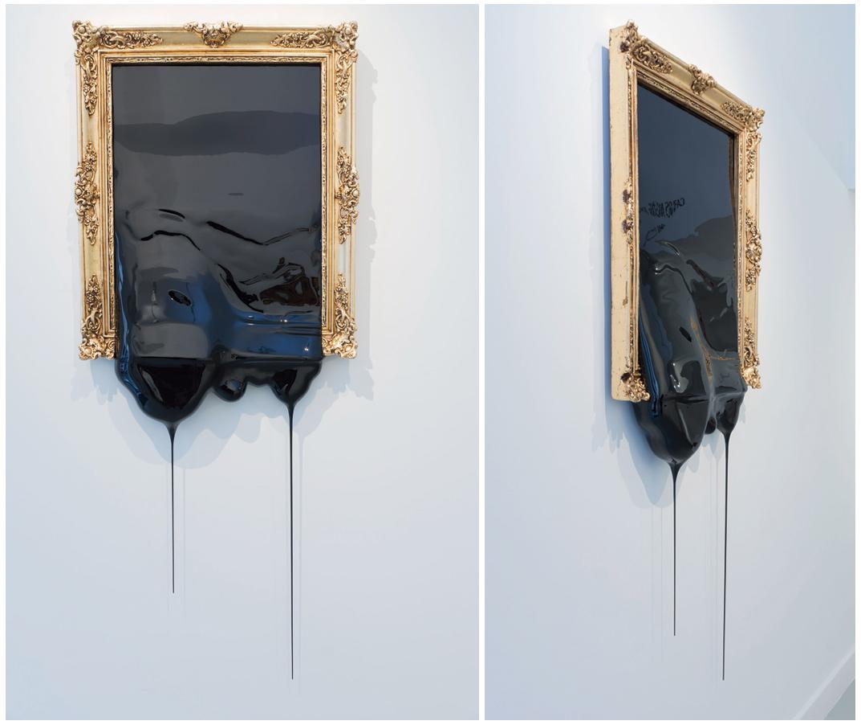 """""""Bodegón con aceituna"""", madera, pintura y marco, 162x62x8 cm. Carlos Nicanor, 2016"""