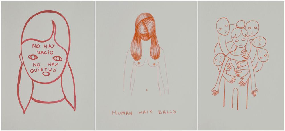 """""""No hay vacío, no hay quietud"""", acrílico sobre papel, 22 x 16cm. Rosalía Banet, 2015 """"Human hair balls"""", lápiz sobre papel, 22 x 16 cm. Rosalía Banet, 2015 """"S/T"""", lápiz sobre papel, 22 x 16 cm. Rosalía Banet, 2015"""