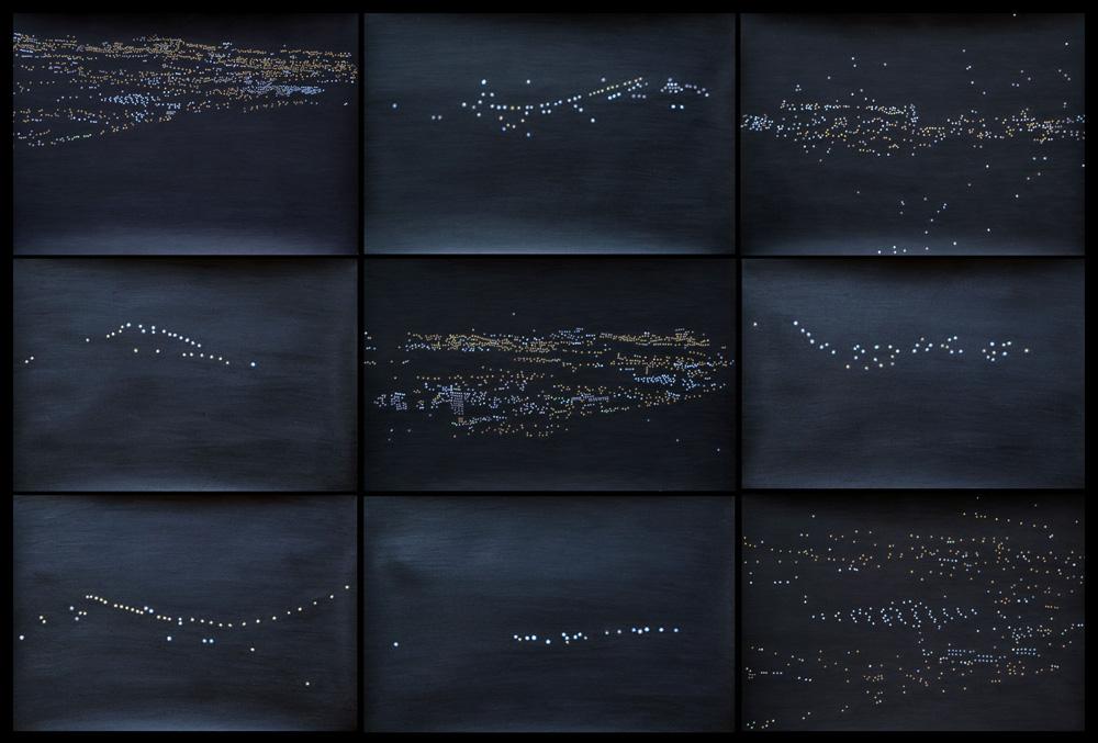 """Montaje """"Constelaciones humanas"""", acrílico y lápiz sobre papel. Rosalía Banet, 2015"""