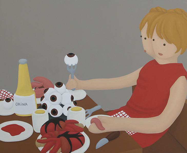 """""""El banquente hambriento 3"""", óleo sobre lienzo, 130x180 cm. Rosalía Banet, 2010"""