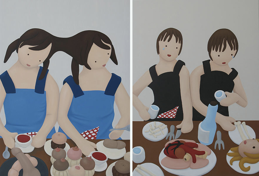 """Izda. """"El banquente hambriento 2"""" y dcha. """"El banquete hambriento 1"""", óleo sobre lienzo, 180x130 cm. Rosalía Banet, 2010"""