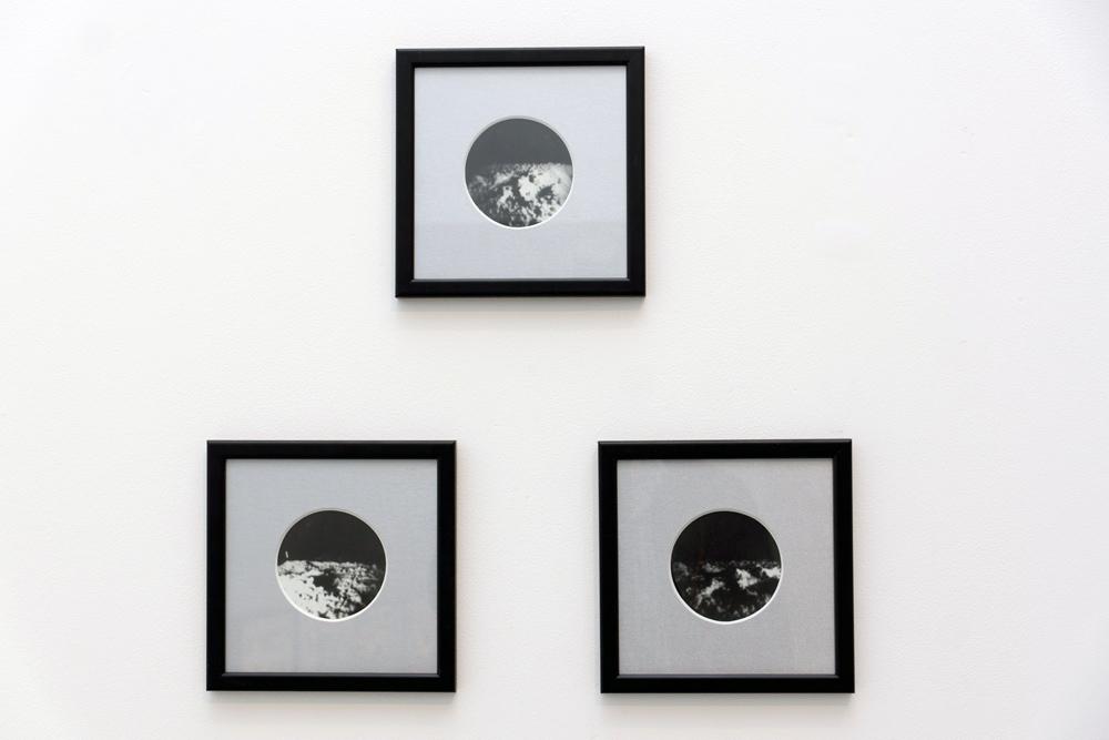 """Apolo"", serie de tres fotografías estenopeicas, 16x16 cm c/u. Salim Malla, 2015"