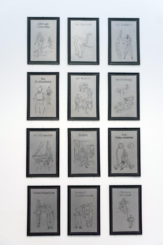 """V2"", transfer sobre acero, serie de 12 ilustraciones, 25x17 cm c/u. Salim Malla, 2015"