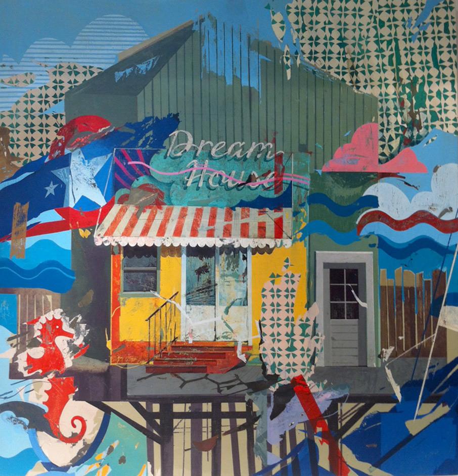 """""""Dream House 02"""", acrílico sobre madera, 122x125 cm. Yani Alonso, 2013"""
