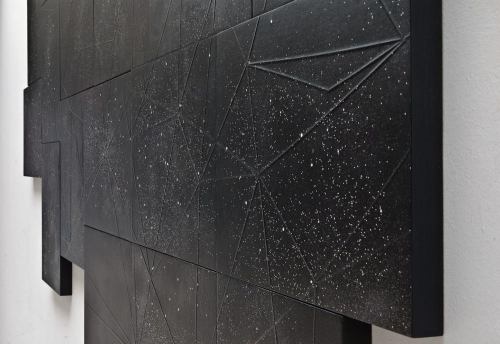 """Detalle de """"Consideraciones"""", monotipo y gofrado sobre papel, 130x220 cm. Salim Malla, 2014"""