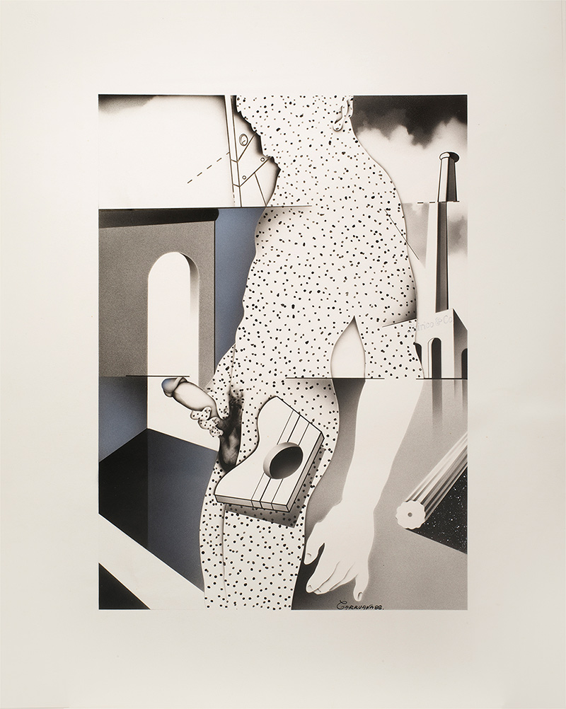 """""""The Chirico & Co."""", aerógrafo sobre cartulina, 60x45 cm. Jorge Carruana Bances, 1988"""