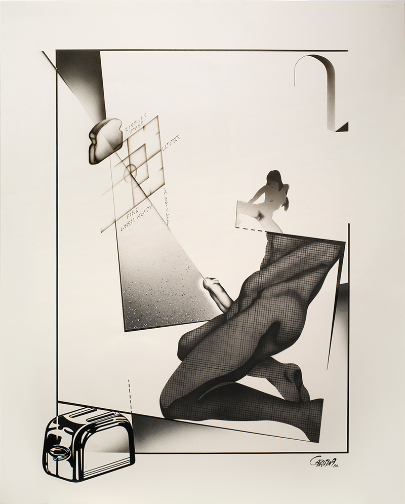 """Fire when ready"", aerógrafo y lápiz sobre cartulina, 60x45 cm. Jorge Carruana Bances, 1988"