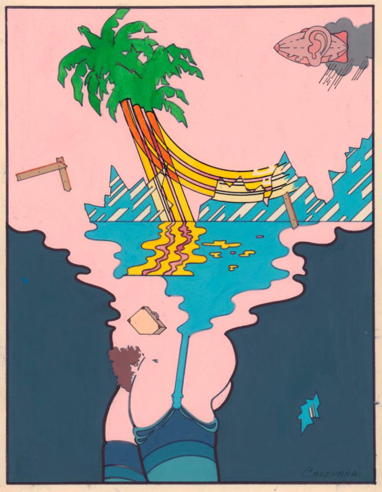 Sin título (serie Palmas I), técnica mixta sobre cartulina, 27x21 cm. Jorge Carruana Bances, 1977