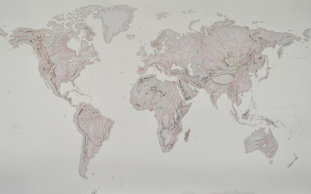 """""""Mapamundi desollado. Hueso"""", acrílico y lápiz sobre papel, 120x190 cm. Rosalía Banet, 2014"""