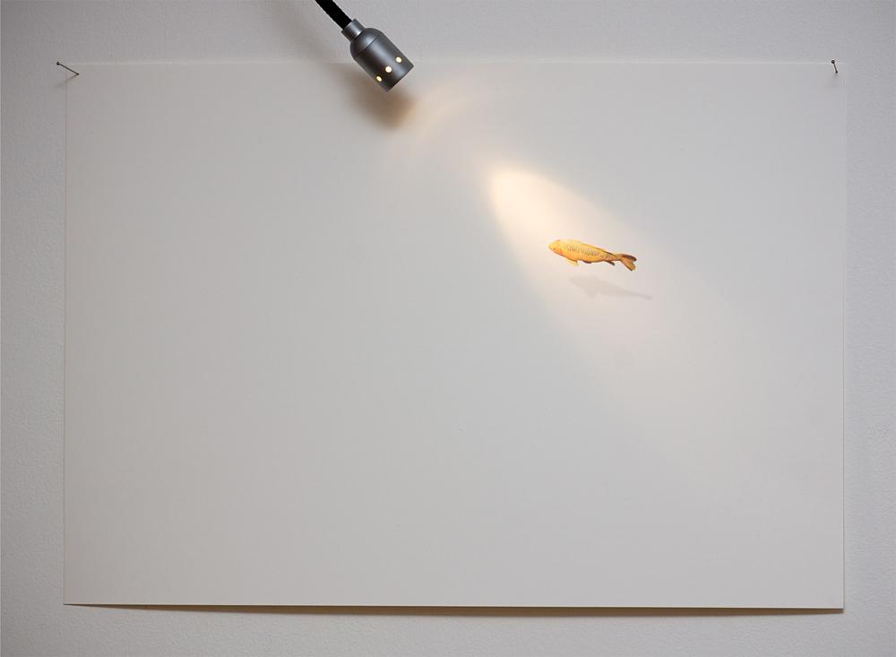 """Ichthys II"", dibujo y luz proyectada, 21x29,7 cm. Juan Zamora, 2013"