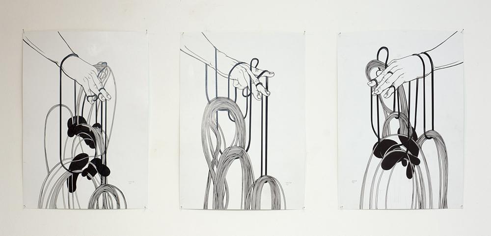 """Obras """"Sin título"""", tinta láser, rotulador permanente y grafito, 21x29,7 cm. Santiago Morilla, 2014."""