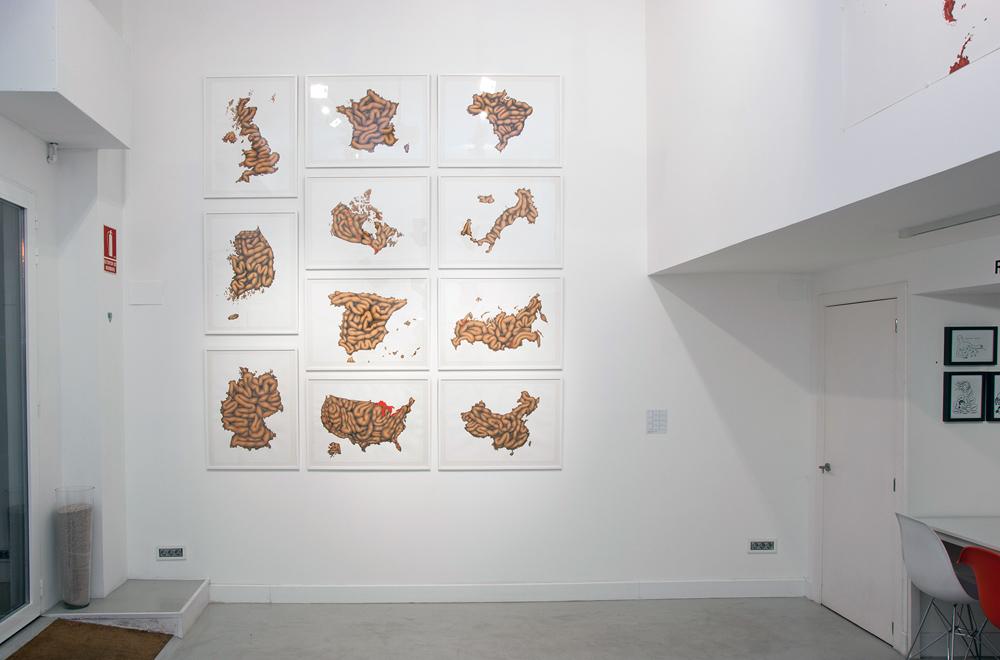 """Mural de la serie """"Black Stomach"""", acrílico y lápiz sobre papel. Rosalía Banet, 2013"""