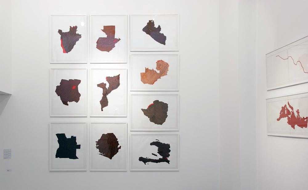 """Mural de la serie """"Mapas de Piel"""", acrílico y lápiz sobre papel. Rosalía Banet, 2013"""