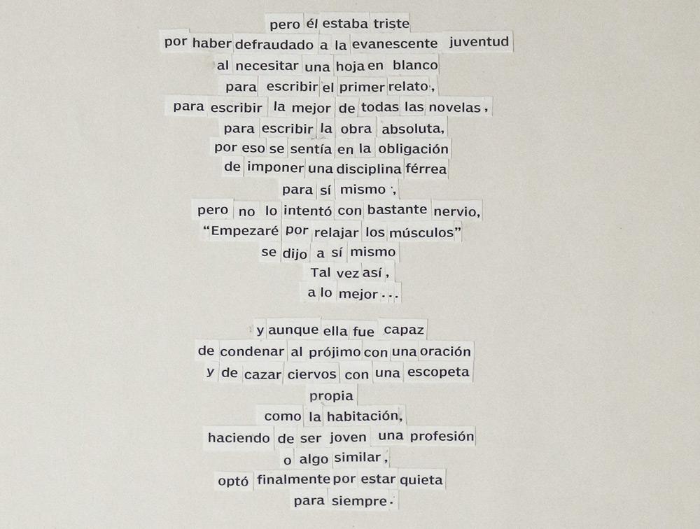 """Detalle de """"Epístolas en verso libre"""" (Arthur Miller """"El manuscrito desnudo), collage enmarcado de 30x40 cm más pieza de 12,5x17,5 cm. Marla Jacarilla, 2014"""