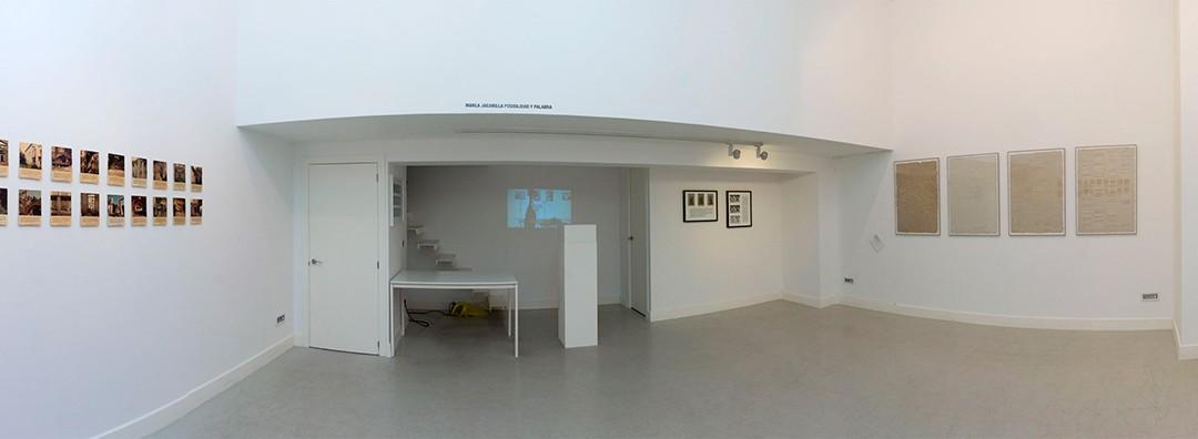 """Vista panorámica de la sala en """"Posibilidad y palabra"""", exposición de Marla Jacarilla, noviembre 2017"""