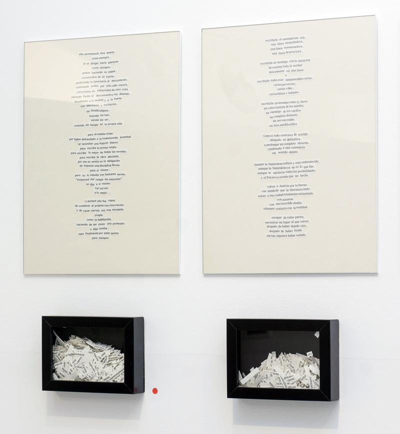 """Detalle de """"Epístolas en verso libre"""" (Arthur Miller """"El manuscrito desnudo"""", y Thomas Bernhard """"Ardía""""), collage enmarcado de 30x40 cm más pieza de 12,5x17,5 cm. Marla Jacarilla, 2014"""