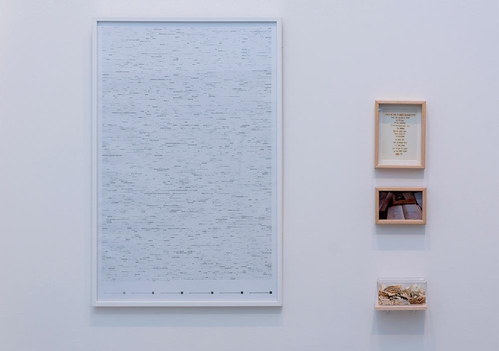 """Izda. """"La integridad o el discurso"""", plotter enmarcado sobre papel de 210 gr, 61 x 91 cm. Dcha. """"The story of Alice and Joaquin"""", instalación: collage enmarcado, 22 x 17 cm, imagen enmarcada, 12 x 17 cm y caja de metacrilato, 8 x 16 x 8 cm. Marla Jacarilla, 2017"""