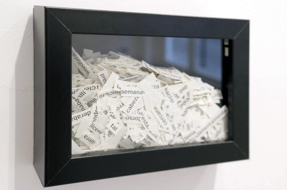 """Detalle de """"Epístolas en verso libre"""", collage enmarcado y pieza de 12,5x17,5 cm. Marla Jacarilla, 2014"""