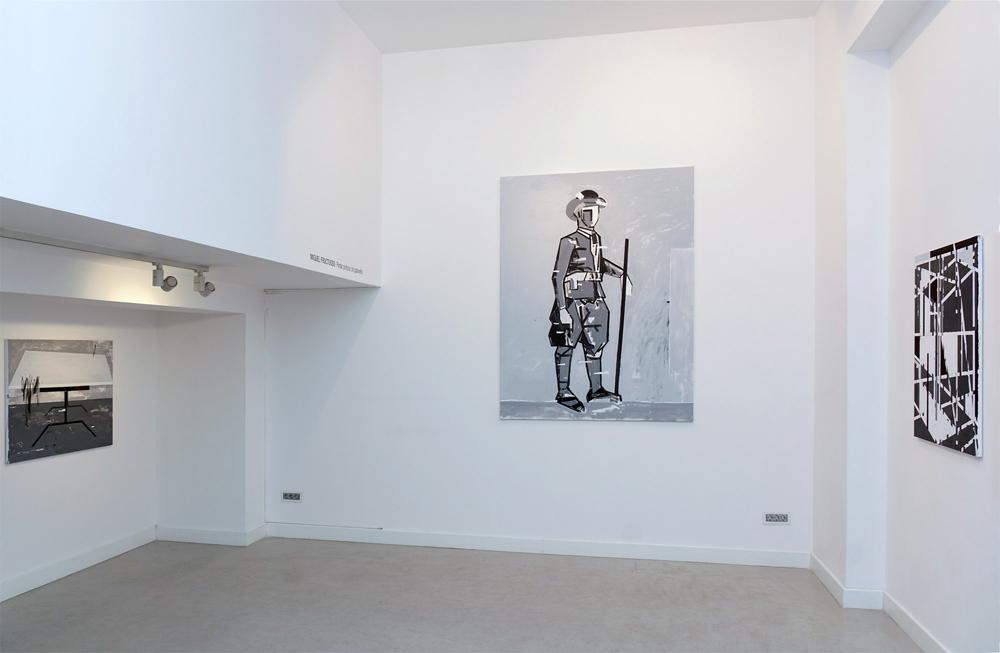 """Izda: """"Tranquilo Richter"""", acrílico sobre lienzo, 81x100 cm. Centro: """"Un maragato"""", acrílico sobre lienzo, 195x150 cm. Dcha. """"Boogie-boogie"""", acrílico sobre lienzo, 100,5x81 cm. Miguel Fructuoso, 2015"""