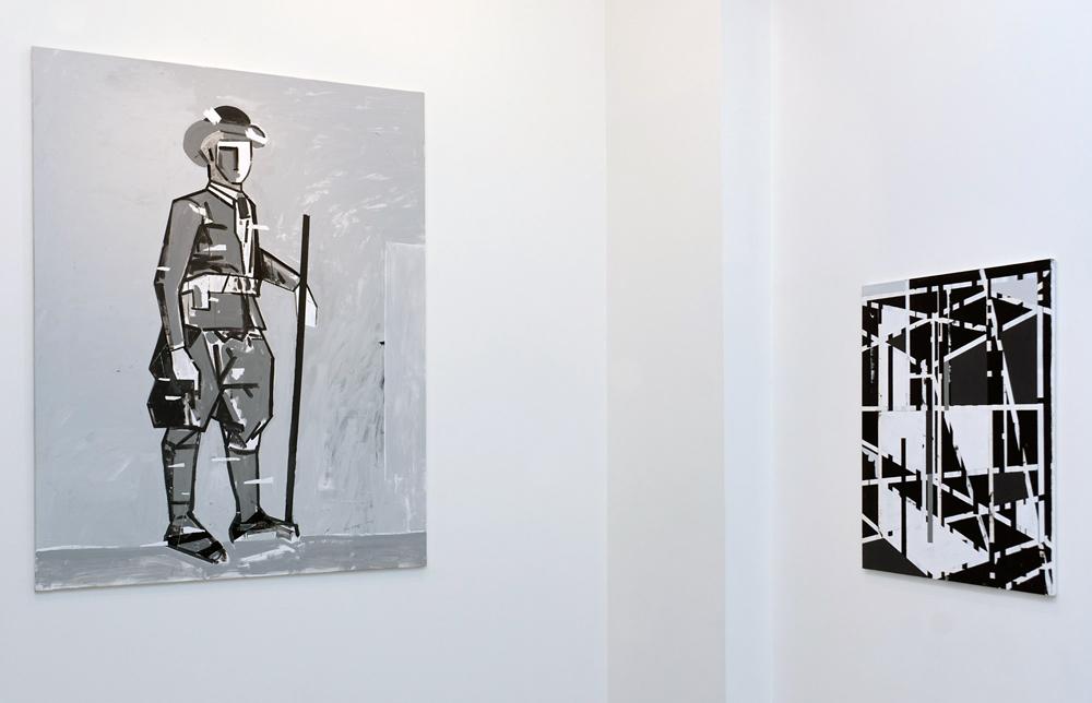 "Izda. ""Un maragato"", acrílico sobre lienzo, 195x150 cm. Dcha. ""Boogie-boogie"", acrílico sobre lienzo, 100,5x81 cm. Miguel Fructuoso, 2015"