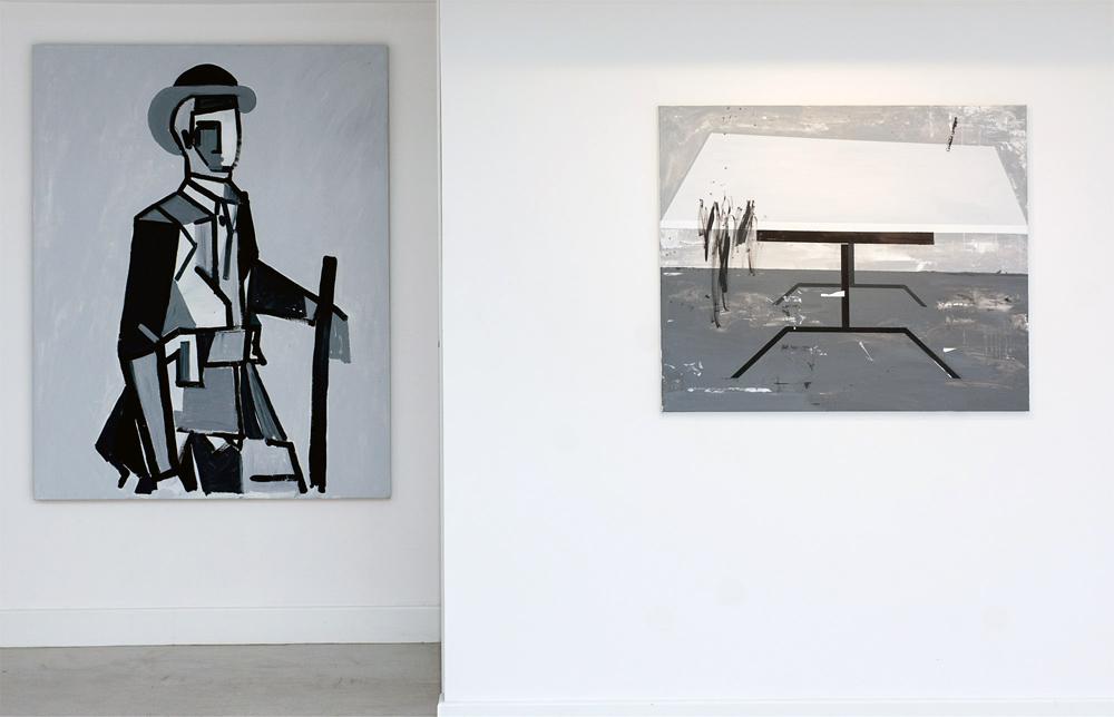 """Izda. """"Otro Maragato"""", acrílico sobre madera, 150x120 cm. Dcha. """"Tranquilo Richter"""", acrílico sobre lienzo, 81x100 cm. Miguel Fructuoso , 2015"""