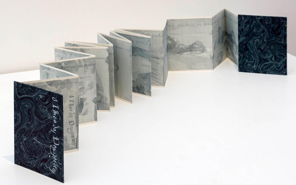 """""""O ilheo dos dragoeiros"""", libro de artista. Acuarela sobre papel, formato acordeón 1,8x12,5x16,7 cm. Nuno Henrique, 2014"""