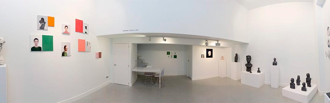 """Vista panorámica de la sala en """"La cabeza y el campo"""", Iván Cantos, 2016"""