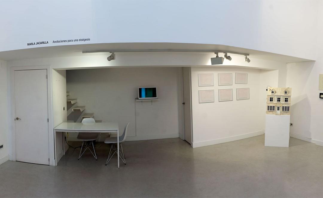 """Vista panorámica de la sala en """"Anotaciones para una eiségesis"""", Marla Jacarilla en Twin Gallery, 2014"""