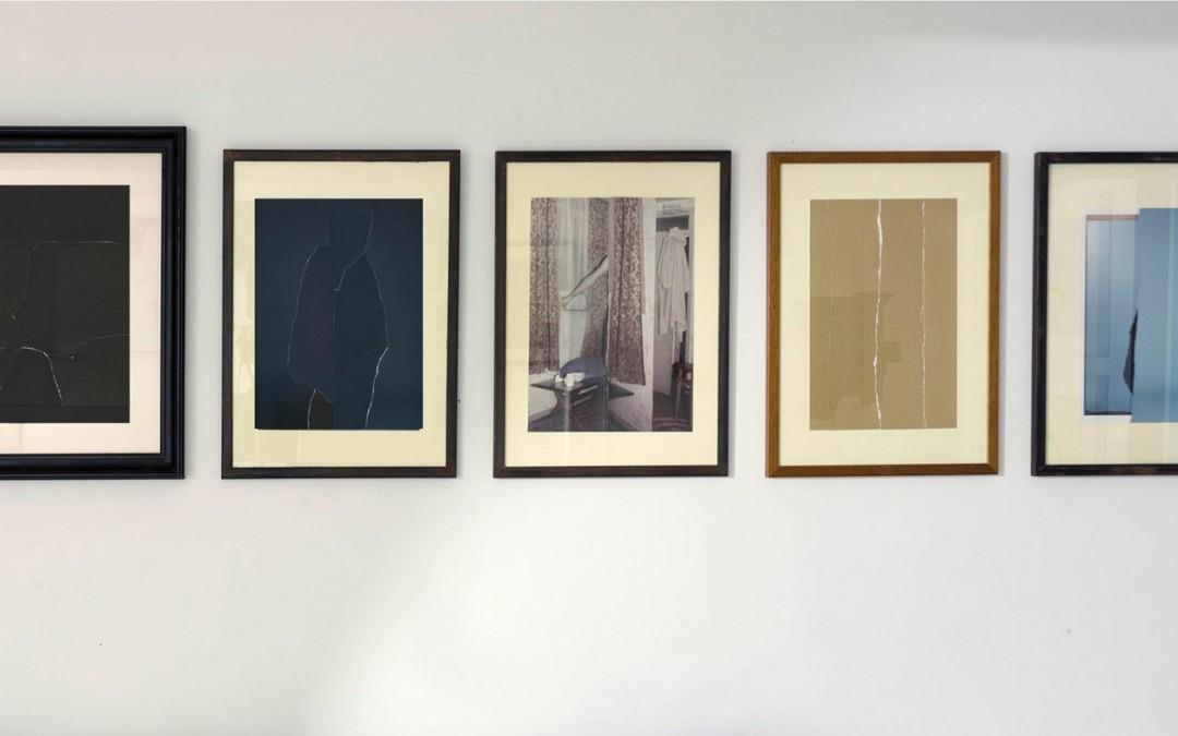 """""""Abstracto"""", """"Bühnenbild V"""", """"Mr. Hide"""", """"Monocromo"""" y """"Bühnenbild"""", collage sobre papel, medidas variables. Ubay Murillo, 2013"""