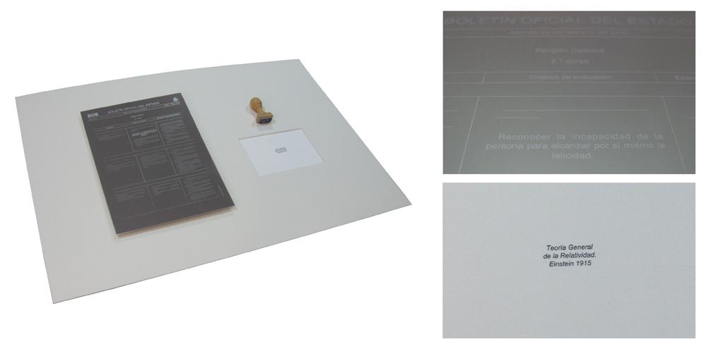 """""""Teoría de la relatividad"""", instalación: aluminio grabado en láser, sello de caucho, papel estampado, 50x70x80 cm. Gema Rupérez, 2015"""