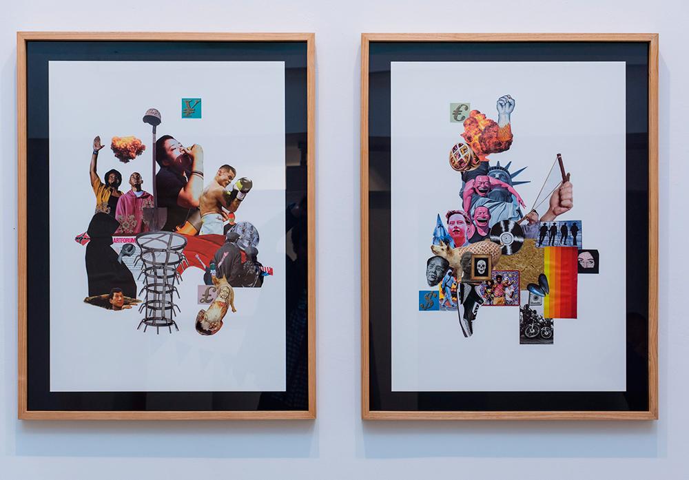 """""""Bienvenidos al desierto de lo real"""", collages de imágenes del ARTFORUM sobre papel, 70x50 cm. Avelino Sala, 2016"""