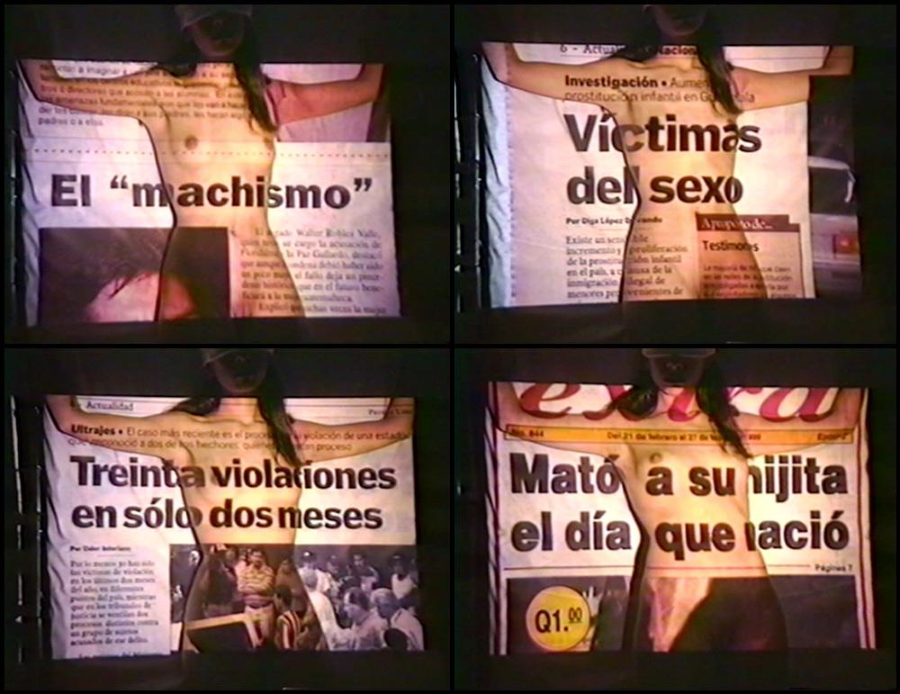 """""""El dolor en un pañuelo"""", vídeo, 3' 10''. Regina José Galindo, 1999"""